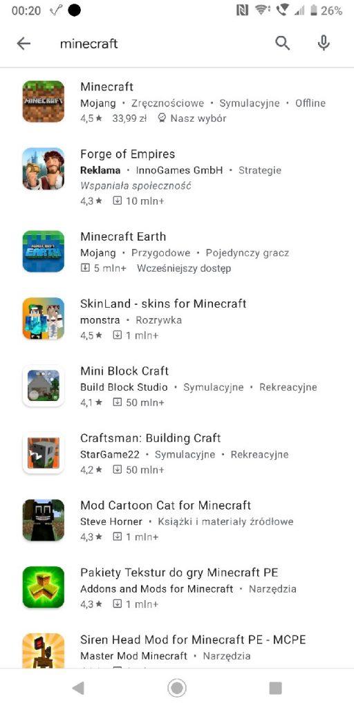 Jak pobrać Minecrafta - szukaj