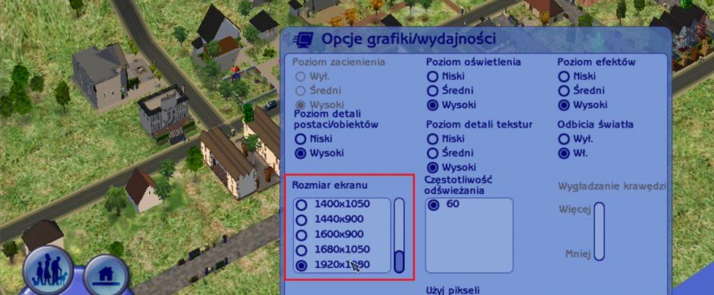 Zmiana rozdzielczości w The Sims 2