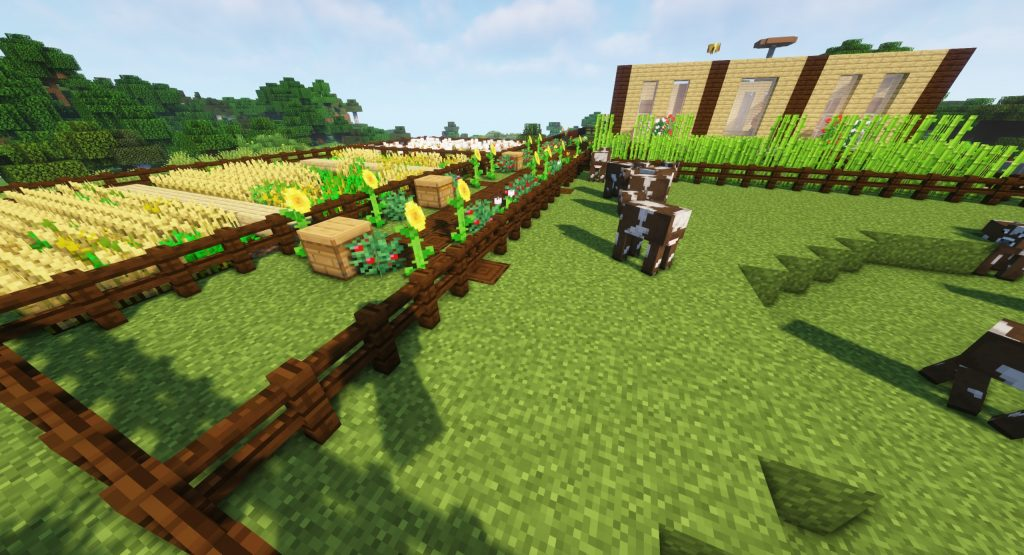 Krowa Minecraft - farma pszenicy i trzciny obok