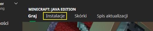 Zakładka Instalacje - Instalacja Minecraft Snapshot