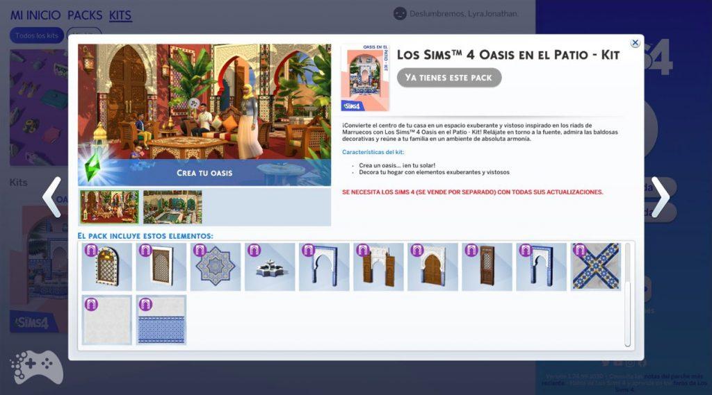 The Sims 4 oaza na patio lista obiektów