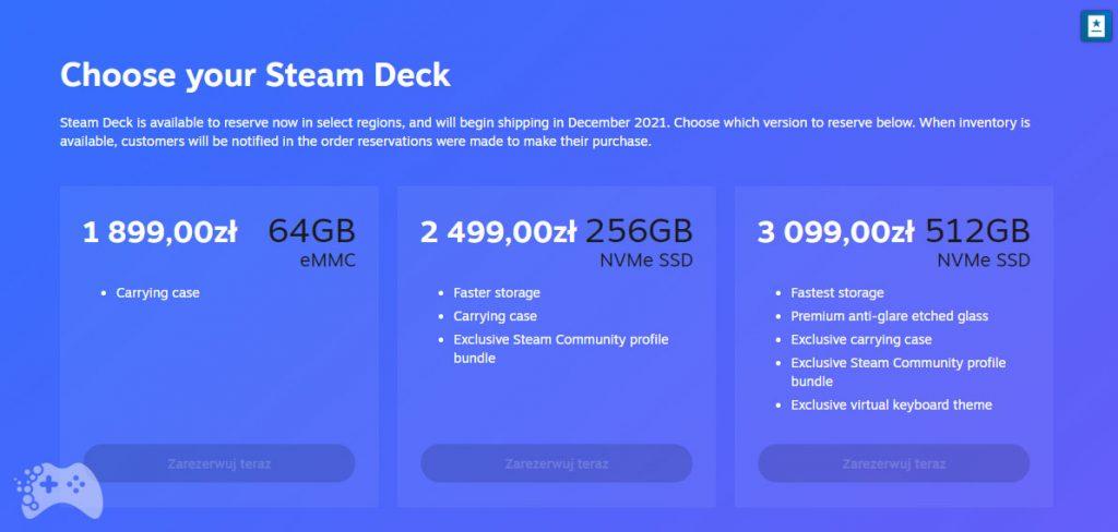 Steam Deck - cena konsoli