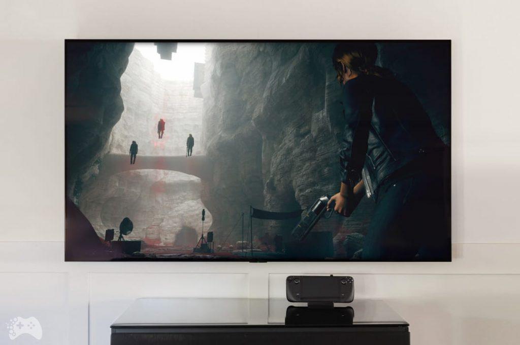 Steam Deck na telewizorze