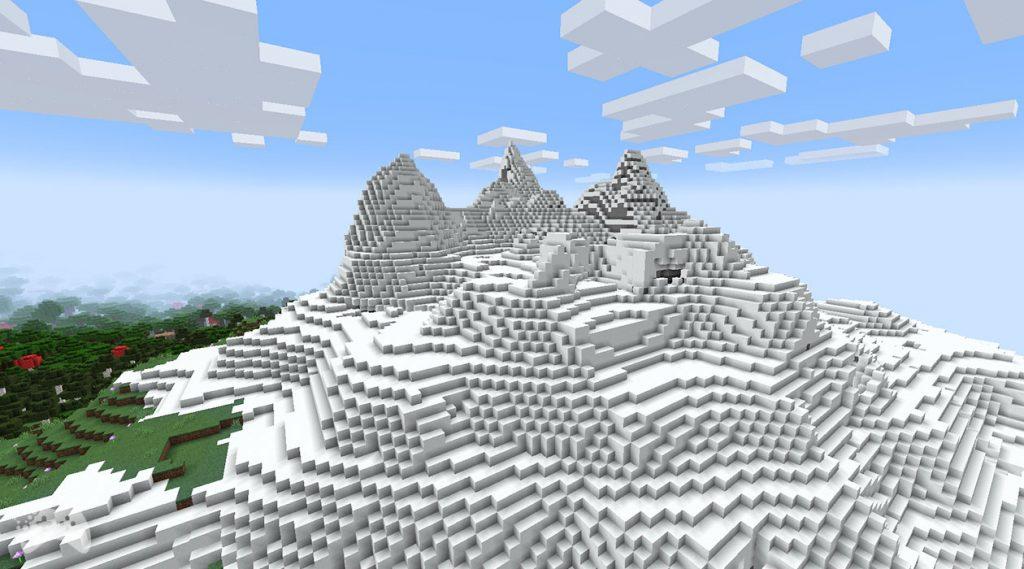 Minecraft Snapshot 21W37A ośnieżone szczyty